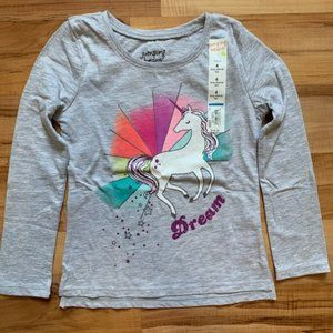 NWT Jumping Beans girls unicorn sparkle top 4